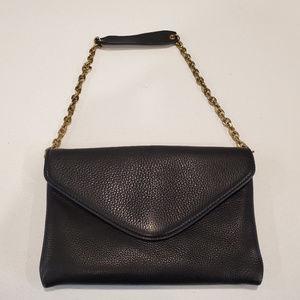 J Crew Envelope Clutch Handbag Leather Black